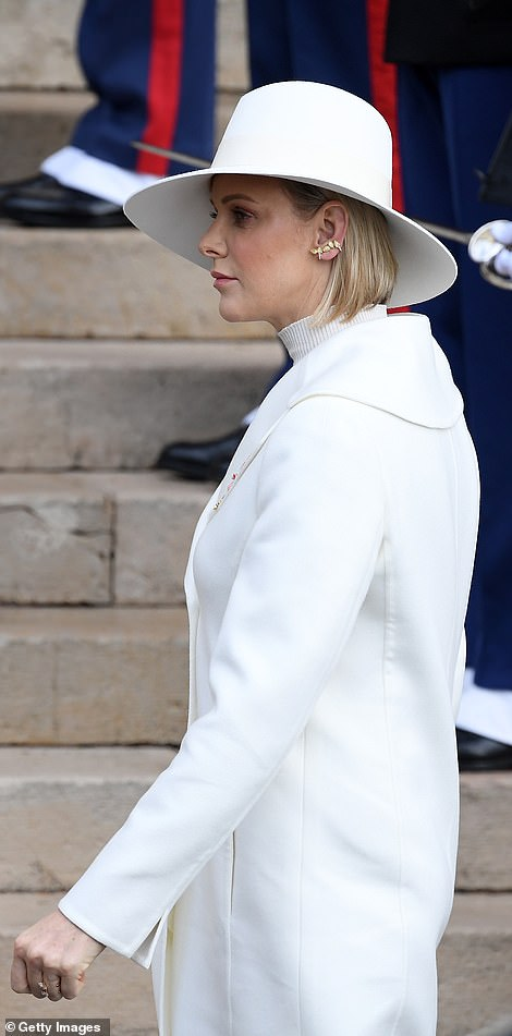Princess Charlene of Monaco arrives at the Monaco Cathedral during the Monaco National Day Celebrations