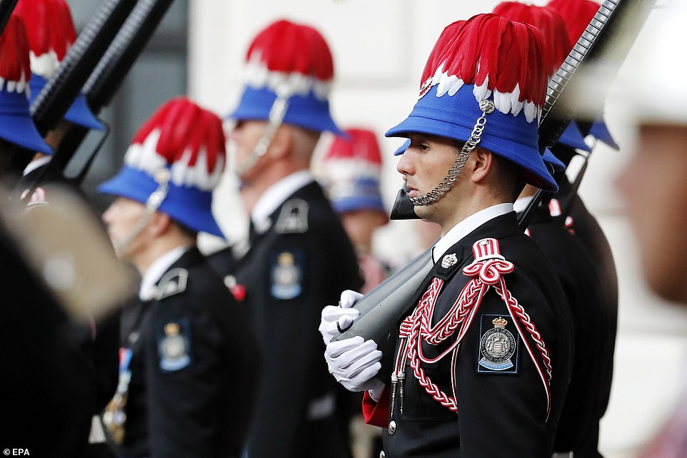 Guards participate in the celebrations marking Monaco's National Day