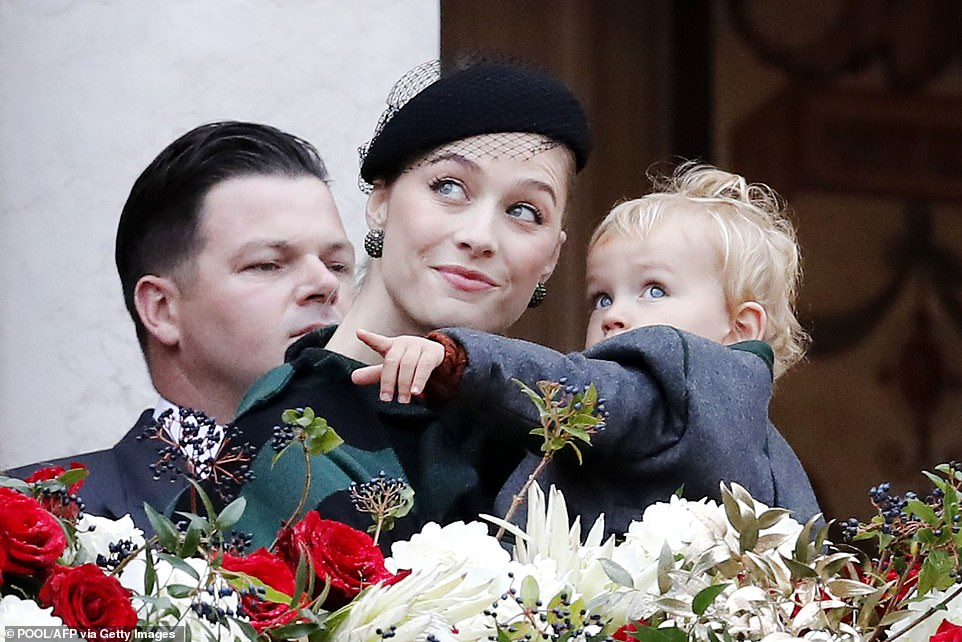 Pierre Casiraghi's wife Beatrice (L) and their son Francesco attend the celebrations