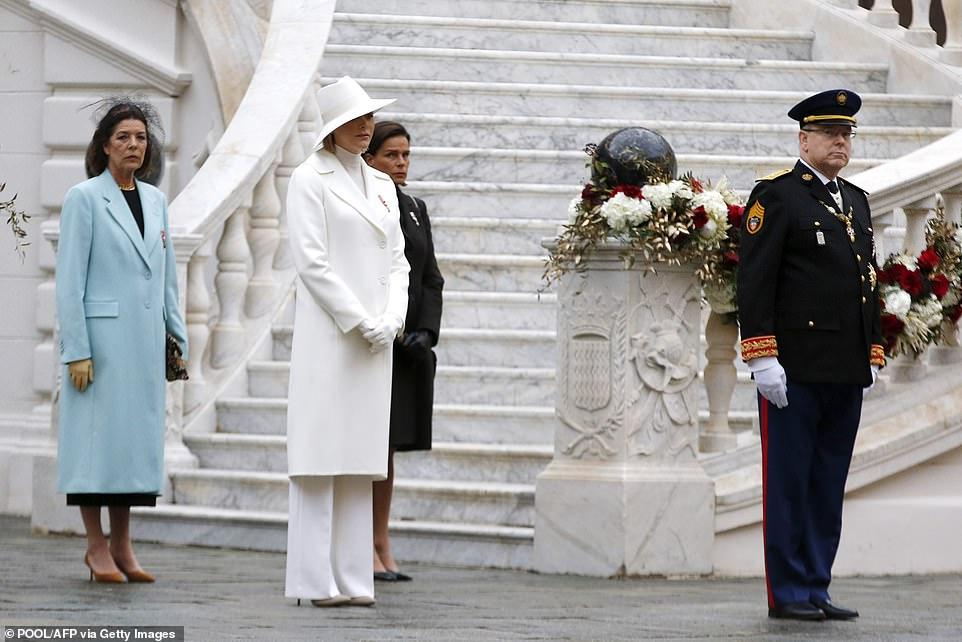 (L-R) Princess Caroline of Hanover; Princess Charlene of Monaco, Princess Stephanie of Monaco and Prince Albert of Monaco attend the celebrations