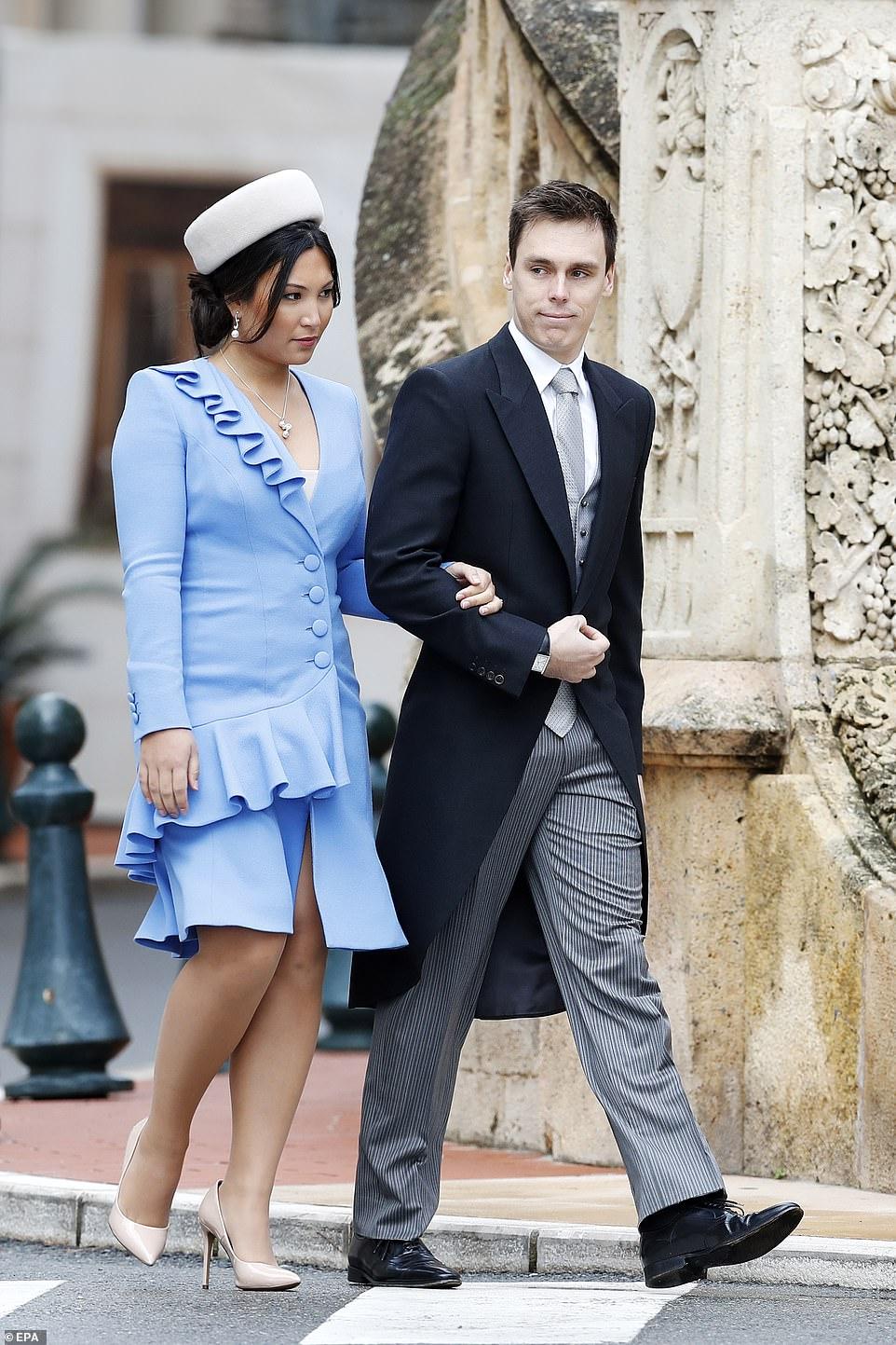 Louis Ducruet (R) and partner Marie Hoa Chevallier (L) attend the celebrations
