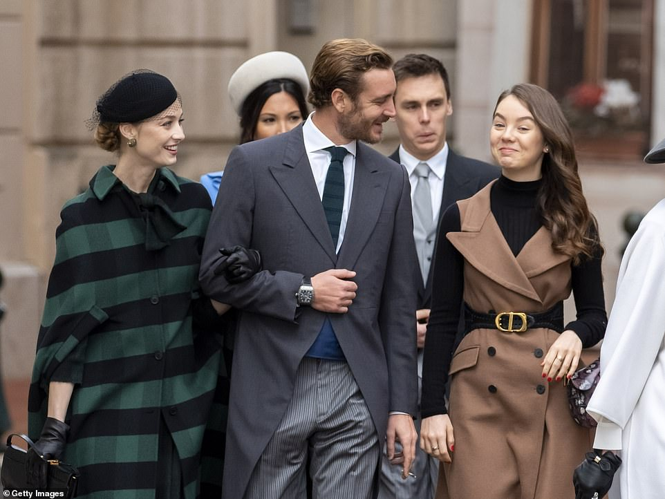 Marie Chevallier, Louis Ducruet, Beatrice Borromeo, Pierre Casiraghi and Alexandra of Hanover arrive at the Monaco Cathedral