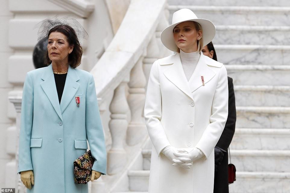 (L-R) Princess Caroline of Hanover; Princess Charlene of Monaco and Princess Stephanie of Monaco