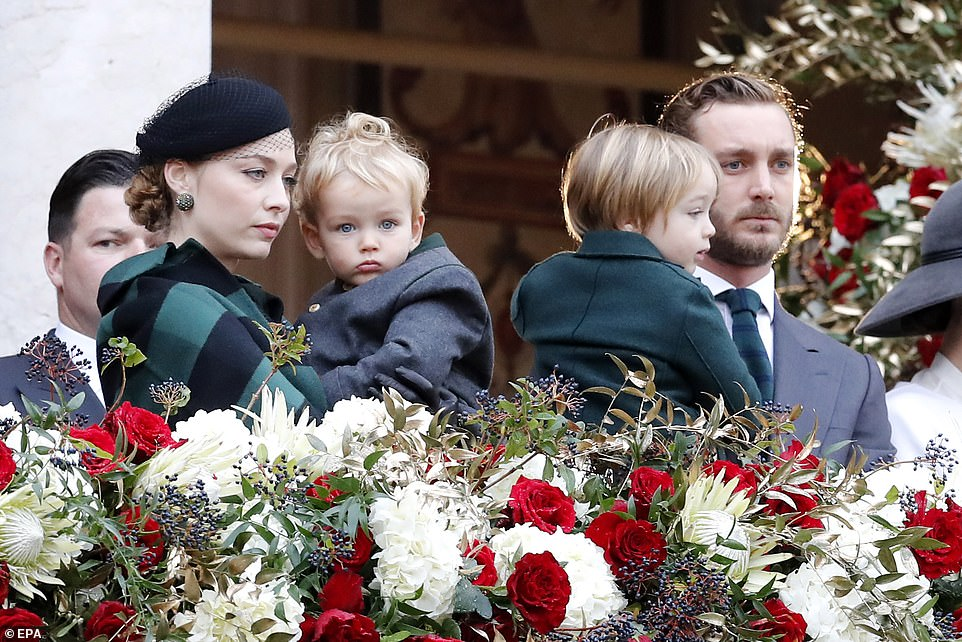 Princess Caroline of Hanover's son Pierre Casiraghi, 32, his wife Beatrice Borromeo, and their children Stefano, 2, and Francesco, 1