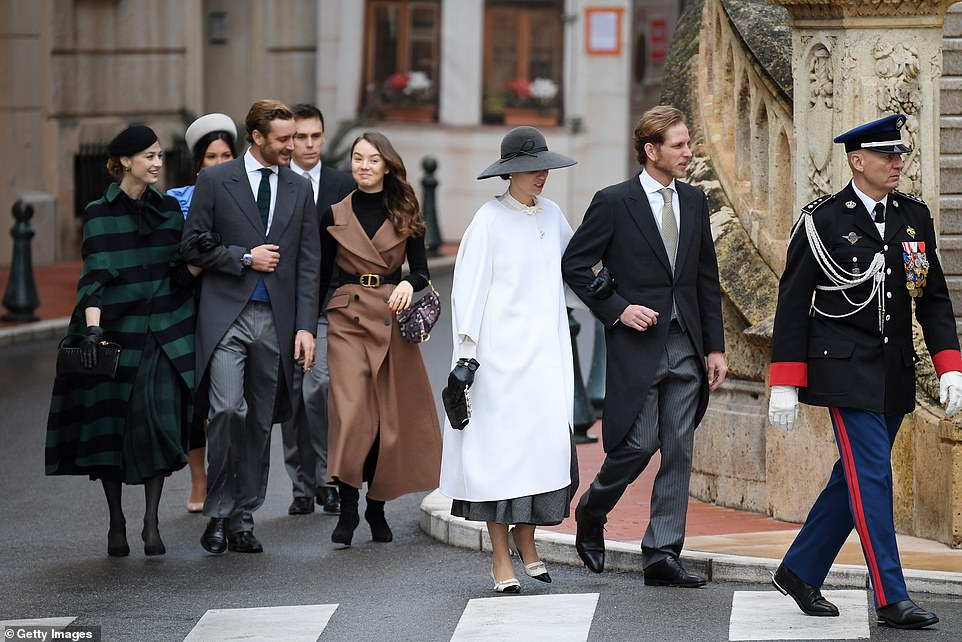 (L-R) Marie Chevallier, Louis Ducruet, Beatrice Borromeo, Pierre Casiraghi,Alexandra of Hanover, Tatiana Santo Domingo and Andrea Casiraghi arrive at the Monaco Cathedral during the Monaco National Day Celebrations