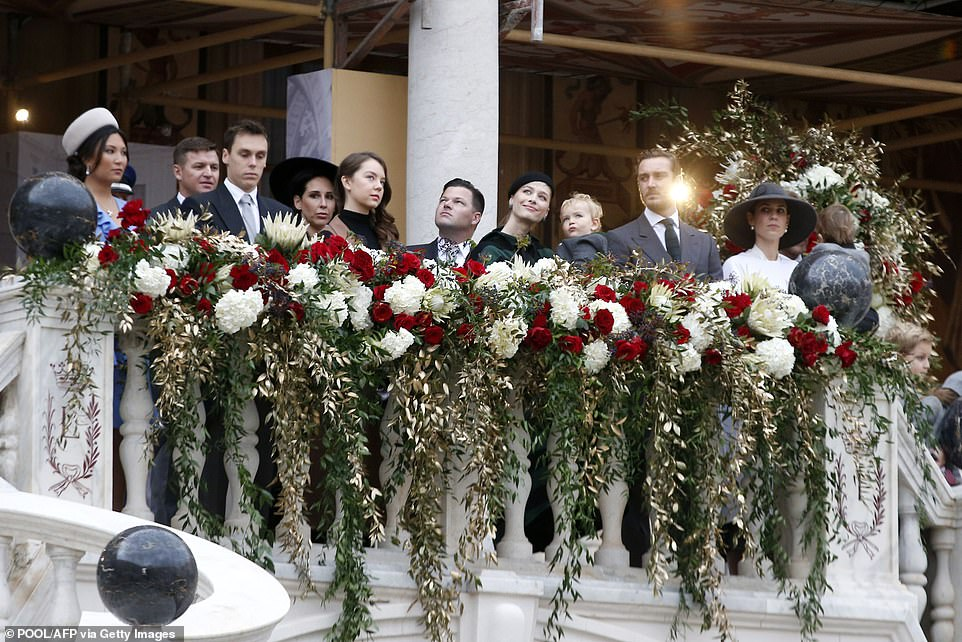 Louis Ducruet (front L), Princess Alexandra of Hanover (front 2-L), Pierre Casiraghi (front 2-R) and his wife Beatrice (front C), Andrea Casiraghi's wife Tatiana (front R) attend the celebrations marking Monaco's National Day