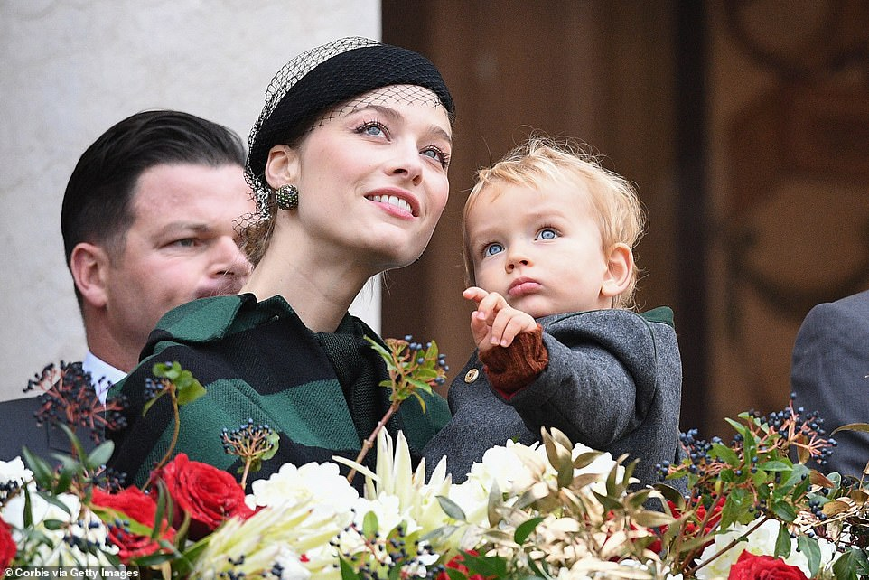 Look mummy! Beatrice Casiraghi and her son Francesco attends the celebrations marking Monaco's National Day