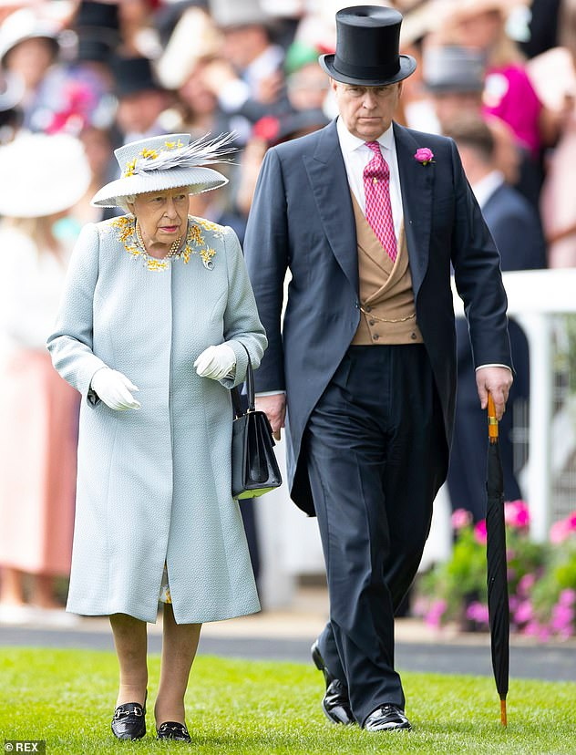 Pictured:Queen Elizabeth II and Prince Andrew attend Ladies Day at Royal Ascot in June