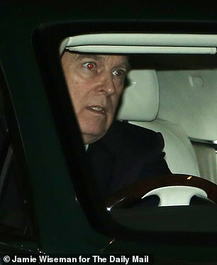 Pictured: Prince Andrew leaves Buckingham Palace after spending the afternoon there on Tuesday - the first time he has been seen since his BBC interview