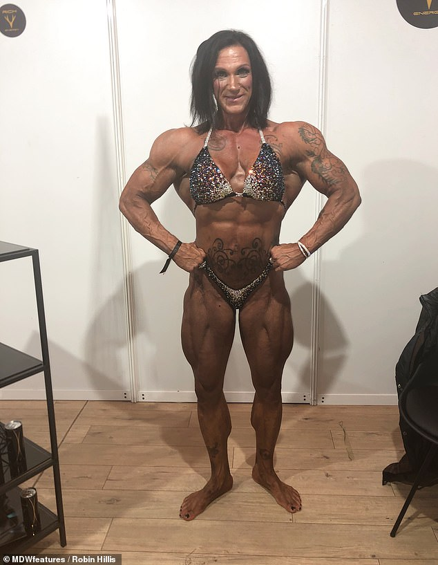 She now weighs 200lb at 5ft 9in and sports 17in biceps, trains six days a week when prepping for a show and five days a week in off-season