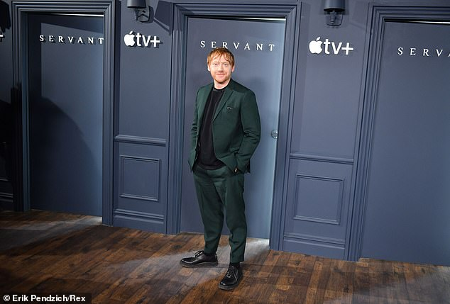 Dapper: The actor wore a bottle green trouser suit with a blackAcne Studios polo neck