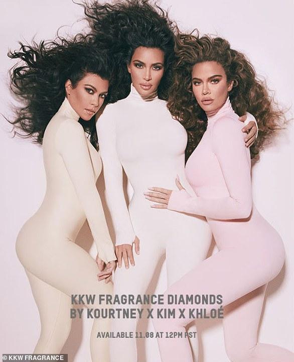 Sister act: Kylie's big sister Kourtney, Kim and Khloe promite their KKW fragrance Diamonds together