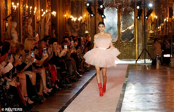 High fashion: Kendall Jenner walks the runway in Rome last month