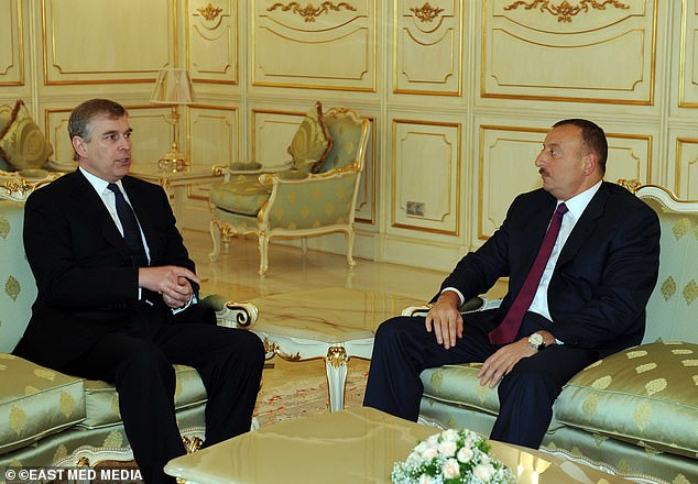 TRADE WITH TYRANTS:Andrew was forced to step down as UK trade envoy for his links with Azerbaijan¿s despot President Ilham Aliyev, here in Baku in 2011