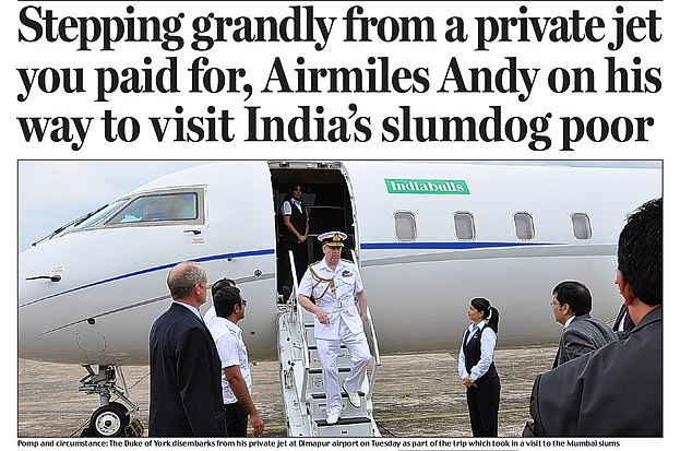AIR-BRAINED SCHEME:¿Airmiles Andy¿ came in for more criticism in 2014 when he arrived in India for a tour of Mumbai¿s slums on a private jet. He also stayed in a £10,000-a-night suite and had the use of a butler