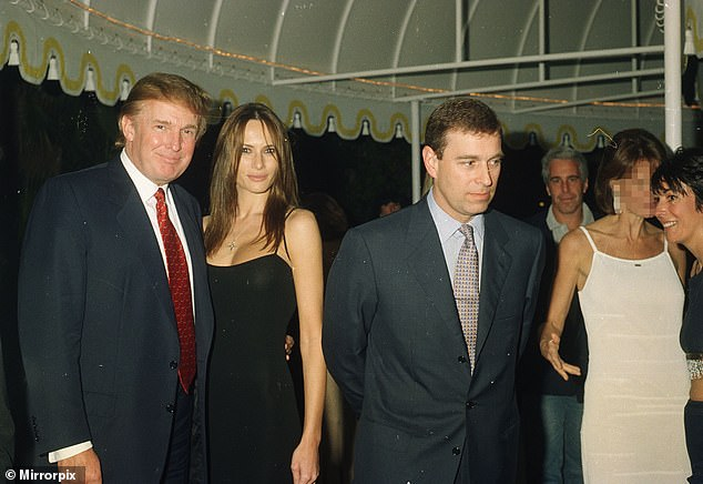 PARTYING WITH THE SUPER-RICH:Prince Andrew again consorts with his billionaire pal Jeffrey Epstein (back right), this time in February 2000 at the Mar-a-Lago resort of Donald Trump and wife Melania. They are also pictured