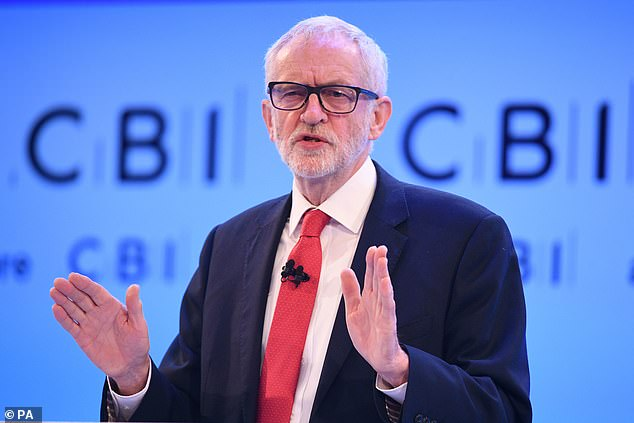 Jeremy Corbyn, pictured at the CBI conference in London on Monday, has continued to switch his position on Brexit