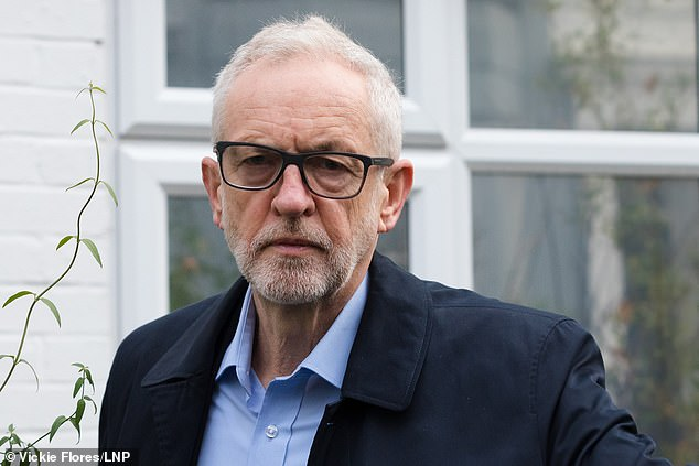 Mr Corbyn leaving his North London home this morning