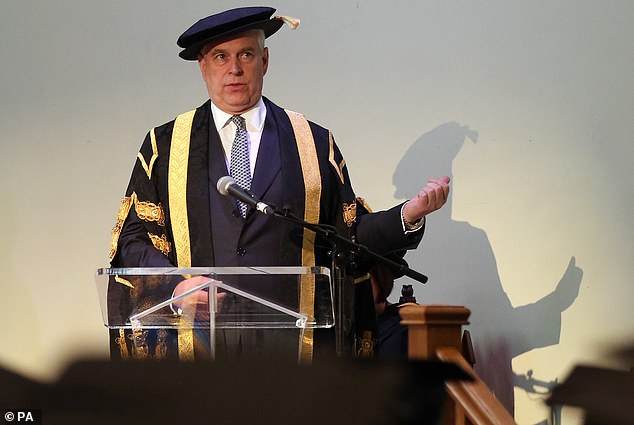 The Duke of York speaks at his installation as chancellor of Huddersfield University in July 2015
