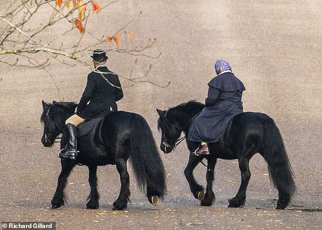 The Queen cut a sombre figure as she took to her horse for a morning ride around the grounds of Windsor Castle today with her Head Groom Terry Pendry
