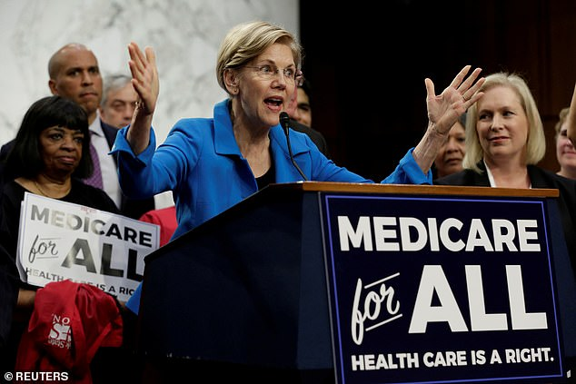 Elizabeth Warren has been described as 'shrill' and many found her claims to have Native American ancestry, which she released, as 'bizarre' and she has struggled to get endorsement (pictured during 'Medicare for All Act of 2017' on Capitol Hill in Washington). She is not expected to be a frontrunner