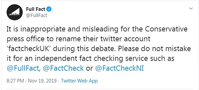 The move was described as 'inappropriate and misleading' by fact-checking organisation Full Fact