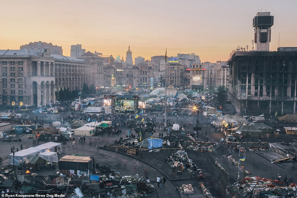 Maidan Nezalezhnost in Kyiv, Ukraine, the main square in the country, 2014. Vendors sell food and souvenirs