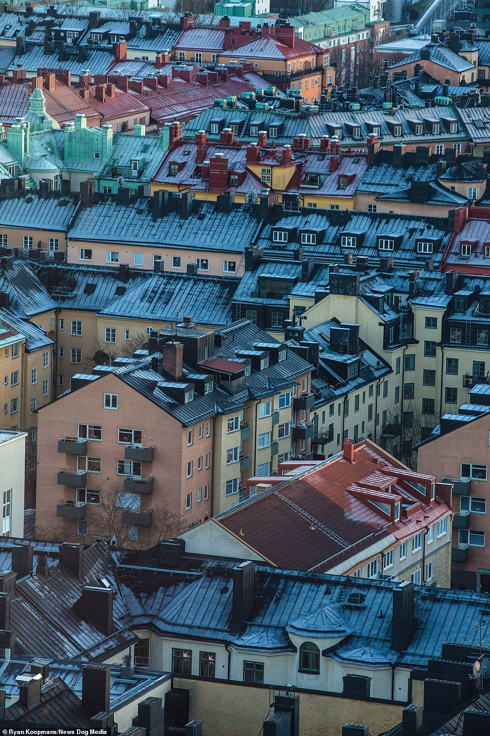 Frosted buildings in Stockholm, Sweden, December 2017. Most of the buildings in Stockholm are yellow as the paint wasproduced as a byproduct of the copper industry