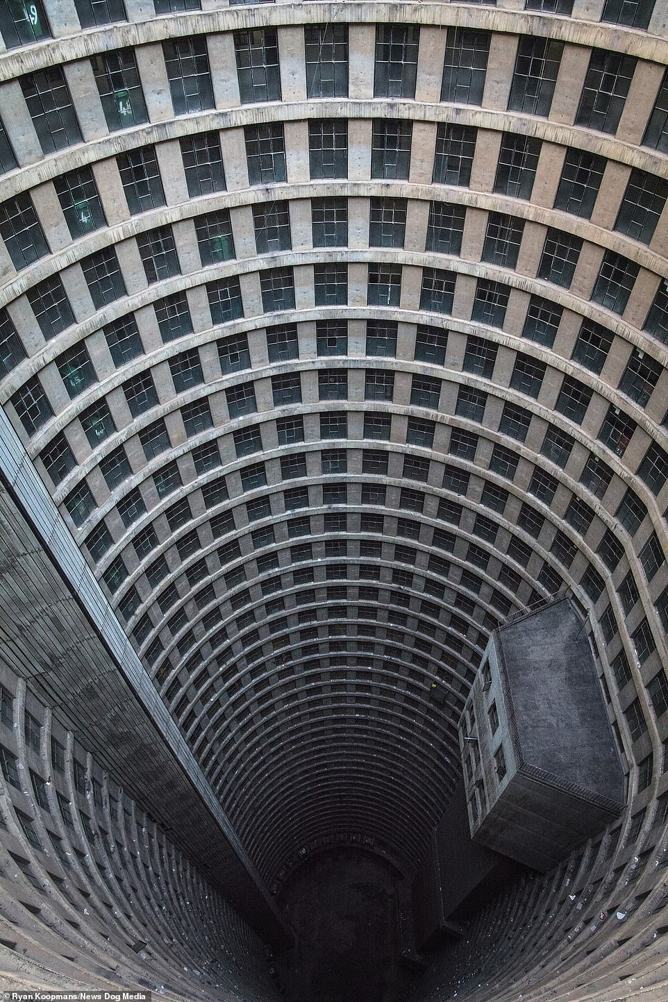 The Ponte City Apartments in Johannesburg, South Africa, July 2017. The unique building has been used as a filming location for several sci-fi thrillers such as District 9 and Resident Evil: The Final Chapter