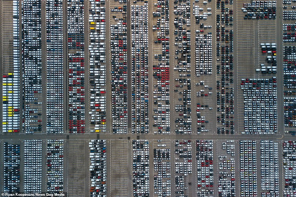 A huge car park near London, England, 2019. The image shows the incredible infrastructure needed to house London's 8.9 million inhabitants