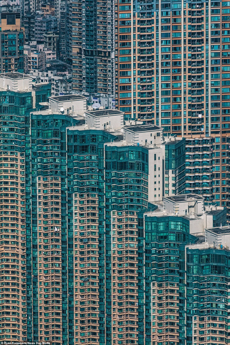 Buildings in Hong Kong, December 2018. Due to staggering housing prices around 200,000 people in Hong Kong are estimated to live in around 88,000 ultra-small 'coffin homes'