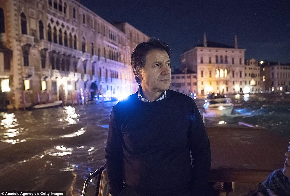 Italian Prime Minister Giuseppe Conte paid a visit to Venice on Wednesday evening to see for himself the devastation from near-record flooding that has inundated the city