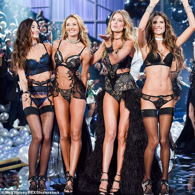 There they go: Lily Aldridge, Candice Swanepoel, Doutzen Kroes and Alessandra Ambrosio on the catwalk Victoria's Secret Fashion Show in London in 2014