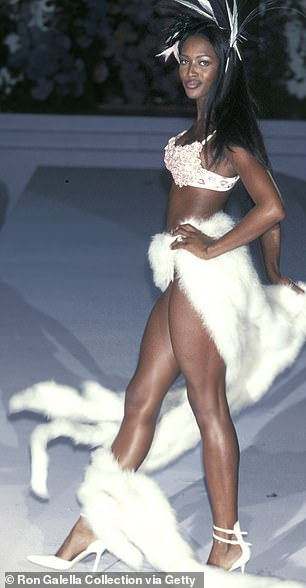 Naomi Campbell on the Victoria's Secret catwalk in New York in 1998