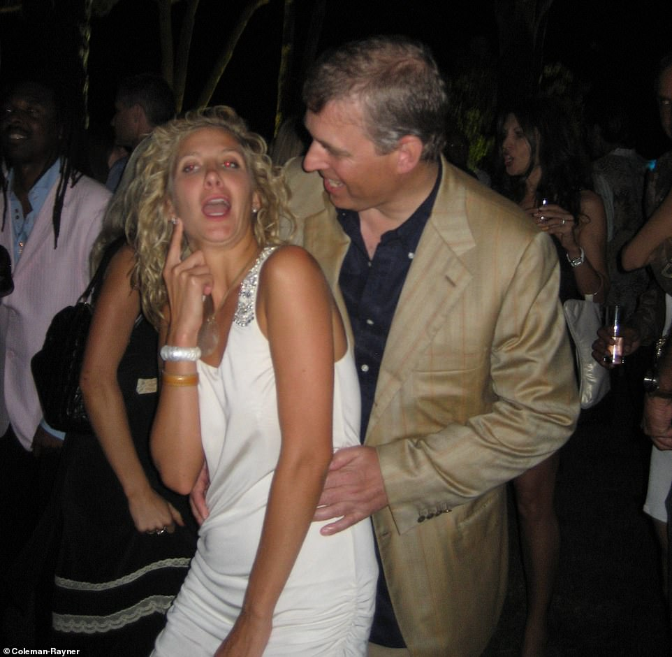 Prince Andrew enjoying himself with American socialite Chris Von Aspen at a party in Saint-Tropez, France, in July 2007. That night he was pictured getting wild with Von Aspen, who at the time was dating Prince Albert of Monaco's right-hand man