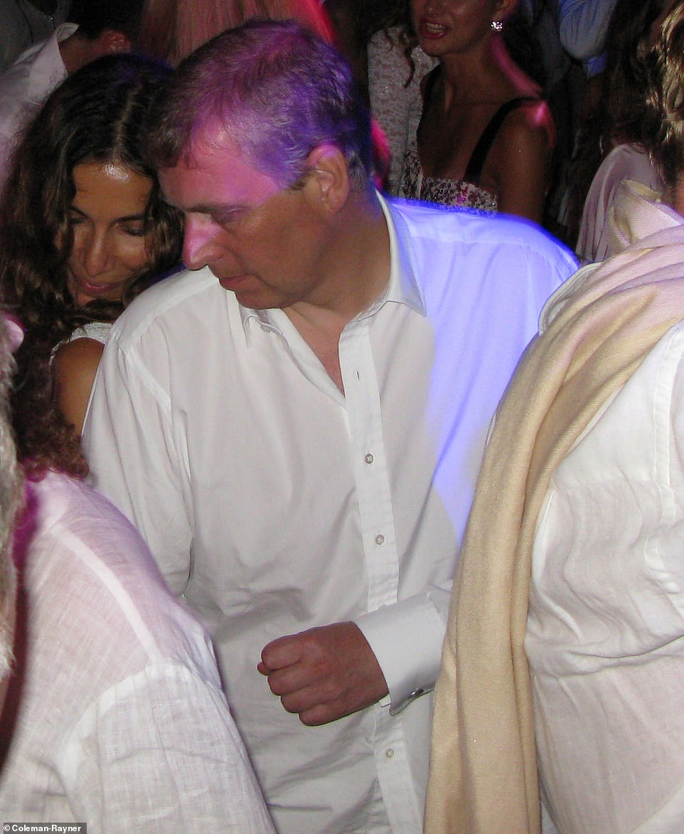 A sweaty Prince Andrew in July 2008, dancing withLibyan model Nadia Boejna at a party in Saint-Tropez, France