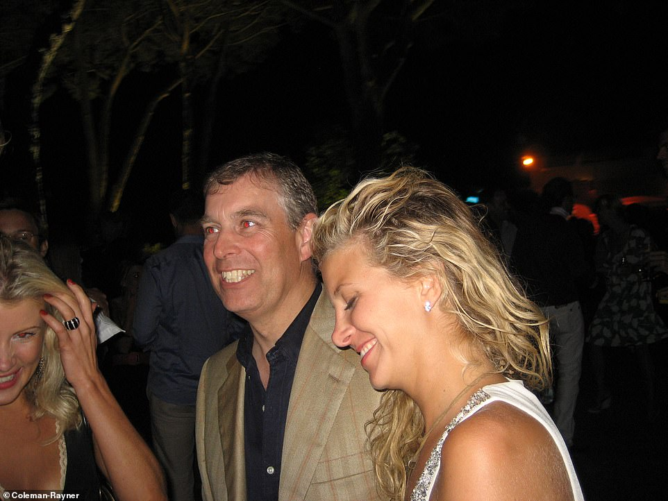 Prince Andrew is seen smiling with American socialite Chris Von Aspen and an unidentified blonde woman at a party in Saint-Tropez, France, in July 2007