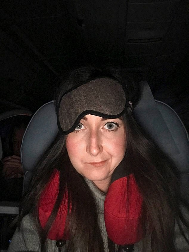 SIX HOURS IN: About halfway into the flight my heart rate was back down at 49. I'd been awake for 14 hours by this point and could barely keep my eyes open