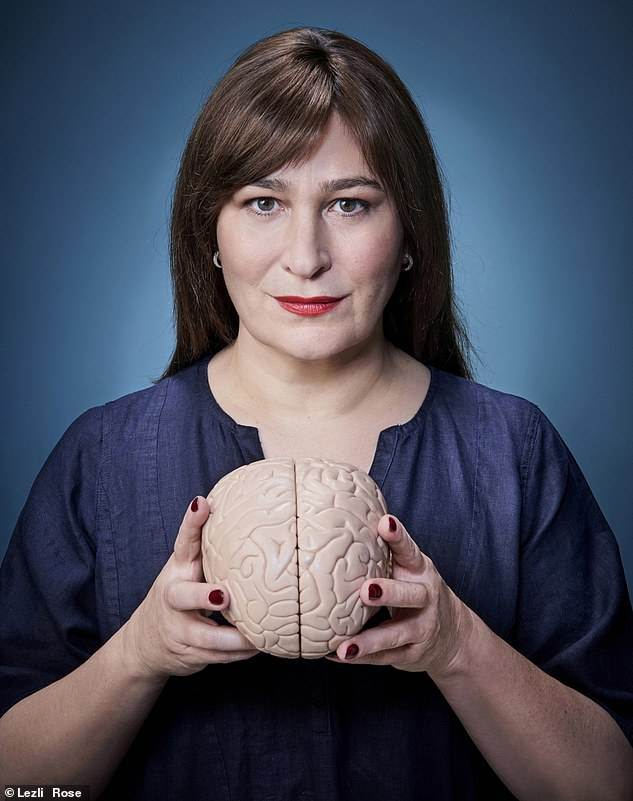 She found that while her brain's right hemisphere, which is concerned with creativity, was 'humming along nicely', her left hemisphere which is linked to logic and numbers was like a 'drunk uncle at a wedding'