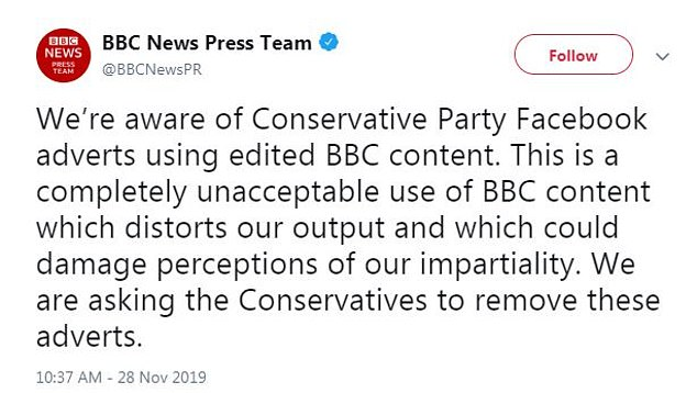 BBC first complained about the adverts last week, asking the Tories to remove them