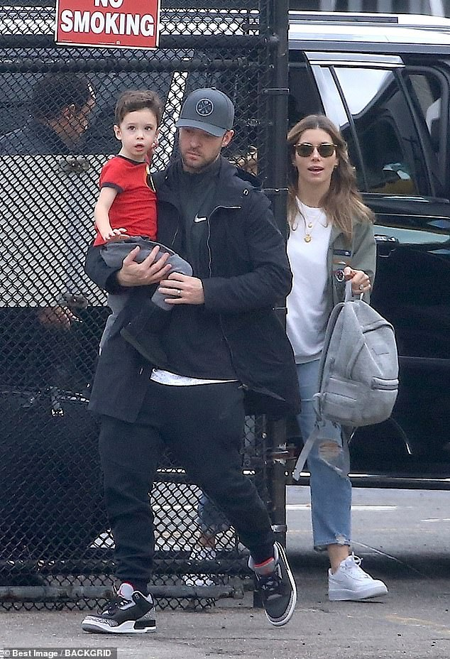 Family: Timberlake added his behavior, 'is not the example I want to set for my son,' referring to his four-year old son Silas, his only child with Jessica' pictured with Silas and Jessica on November 2, 2018 in New York City