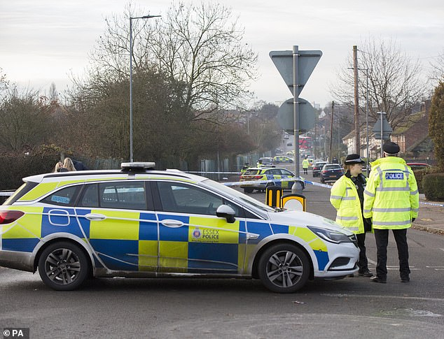 The scene in Loughton today as a police cordon remains in place as they carry out their investigations