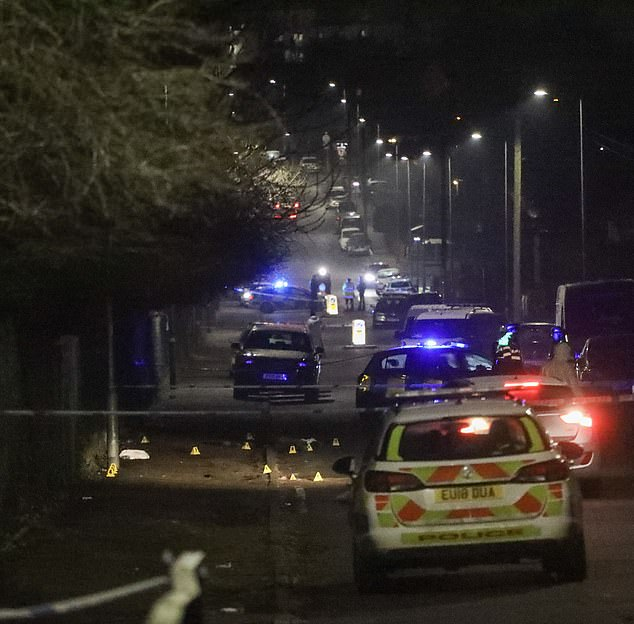 Emergency services at the scene yesterday evening after the tragic death of a 12-year-old boy