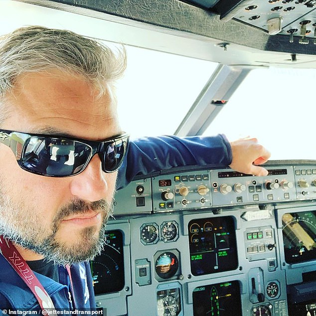"""Pilot Steven Giordano (pictured) said: 'I looked left and about had a heart attack when I saw one - so close - strobes on and with blueish """"glow strips"""" along the side of his fuselage'"""