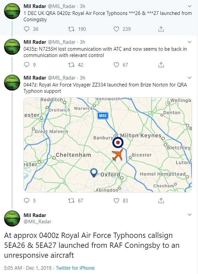 The Typhoons were scrambled after an aeroplane flying from Tel Aviv to Arizona lost communications with air traffic control