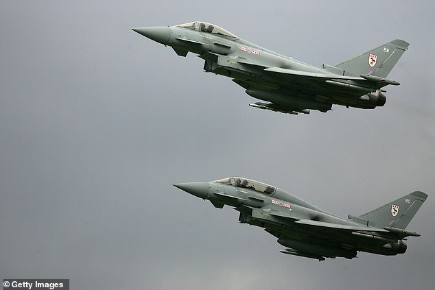 A sonic boom is a thunder-like noise a person on the ground hears when an aircraft or other type of aerospace vehicle flies overhead faster than the speed of sound. Two Eurofighter Typhoons are seen in this stock image