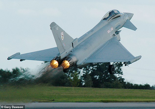 To create a sonic boom the Typhoons had to go faster than the speed of sound, Mach 1, or767 miles per hour (pictured: a jet taking off atRAF Coningsby)