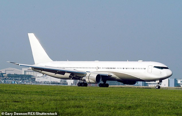 A file photo of a Boeing 767 without any livery - the plane which the RAF went to intercept early on Sunday morning would have been without markings on the way to its new buyer