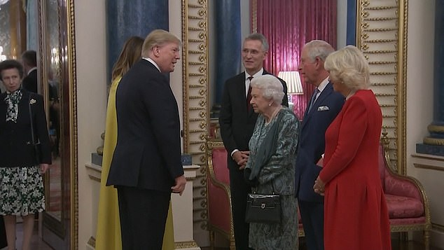 The Queen was joined by Prince Charles and the Duchess of Cornwall in welcoming President and Mrs Trump to Buckingham Palace for the NATO summit reception last night