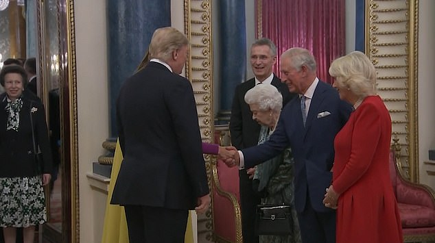 The well-rehearsed greeting saw the Trumps greet the Queen before moving down the line to Prince Charles and his wife, while Princess Anne stood in the doorway waiting to come in